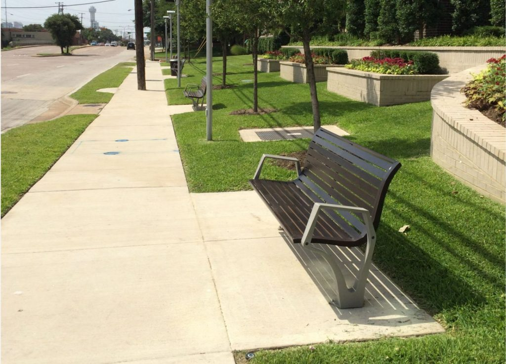 Outdoor benches at apartment complex